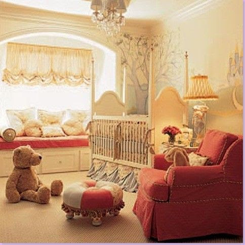 Elegant Fairytale Nursery. Love the window treatment
