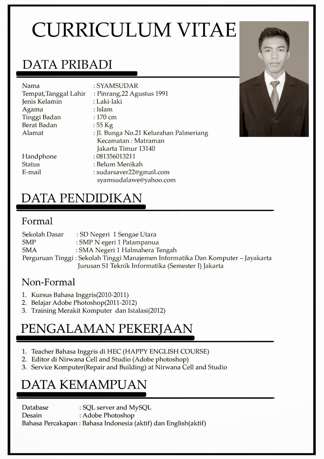 Contoh Cv Bahasa Indonesia Yang Baik Dan Benar Best Resume Examples