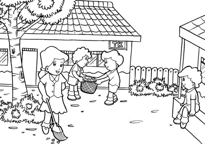 gambar mewarnai anak tk tema lingkungan sekolah