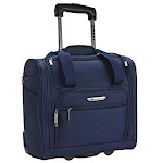 Travelers Club PR-85315-410 Rafael 15 in. Softside Underseater Carry-On Rolling Briefcase Navy