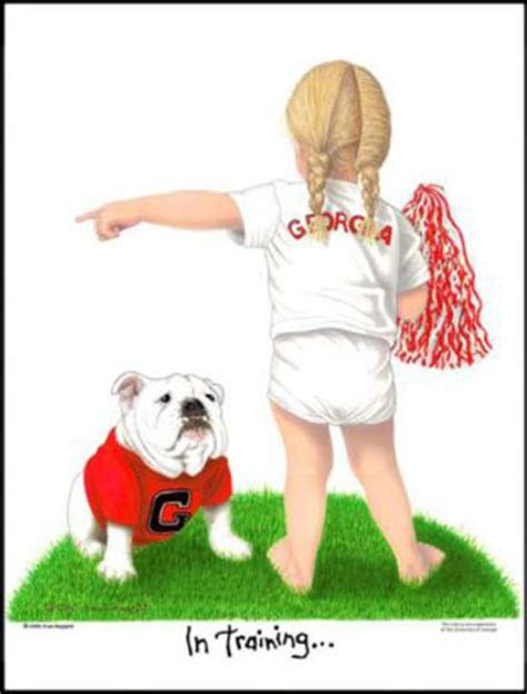 University of Georgia Bulldog Cheerleader In Training Art