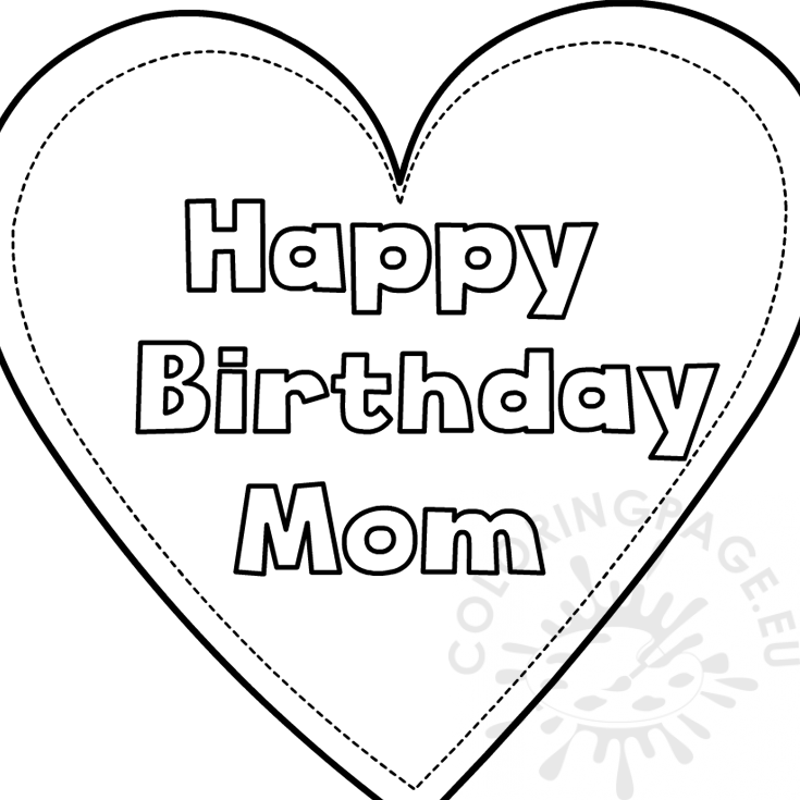 Heart happy birthday mom template - Coloring Page