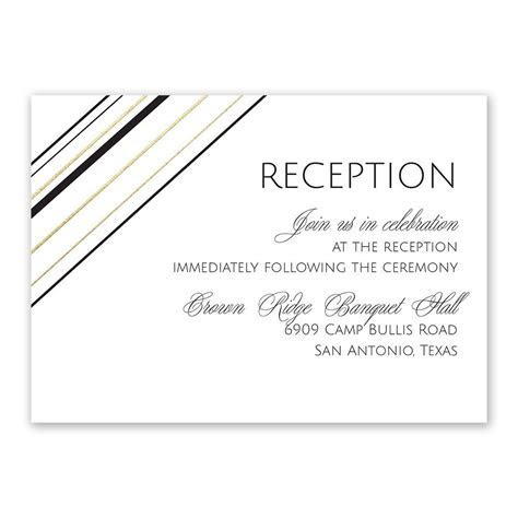 Sharp Lines Foil Reception Card   Invitations By Dawn