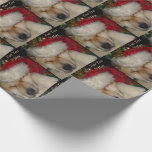 Cute akita dog asleep santa hat tinsel christmas wrapping paper
