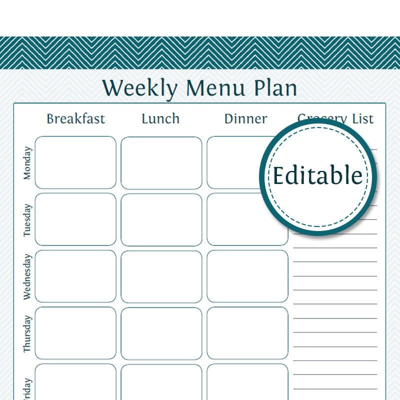 Editable meal plan | Etsy