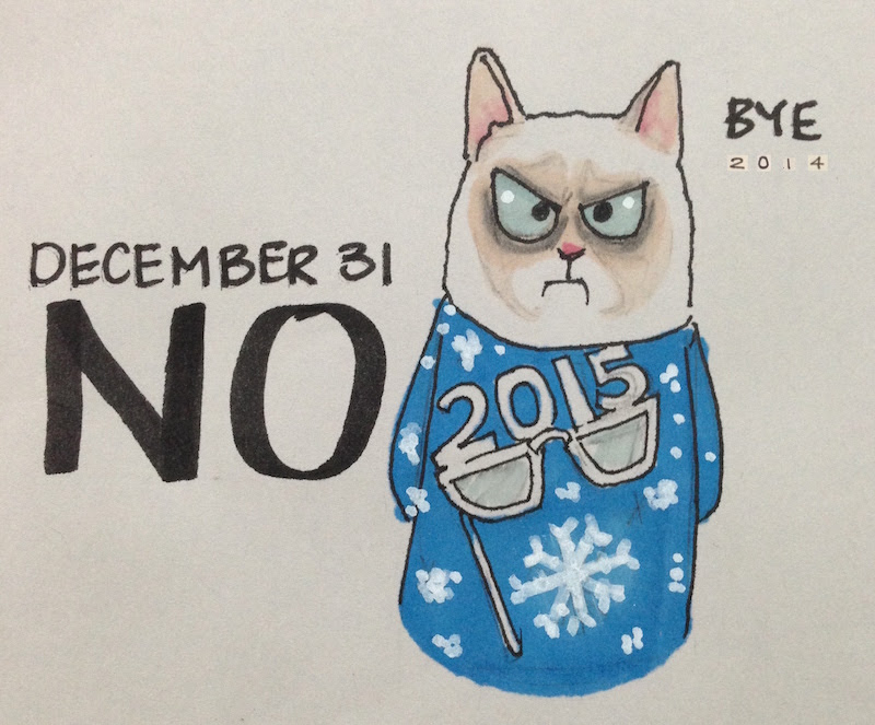 Grumpy cat in holiday sweater