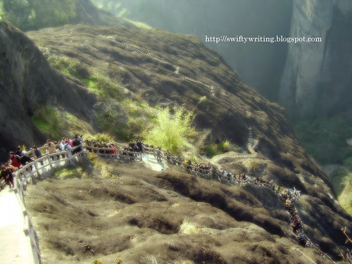 Loads of People Climbing Tianyou Peak