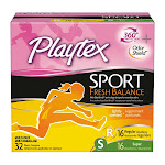 Playtex Sport Fresh Balance Plastic Tampons Lightly Scented Regular/Super - 32 count