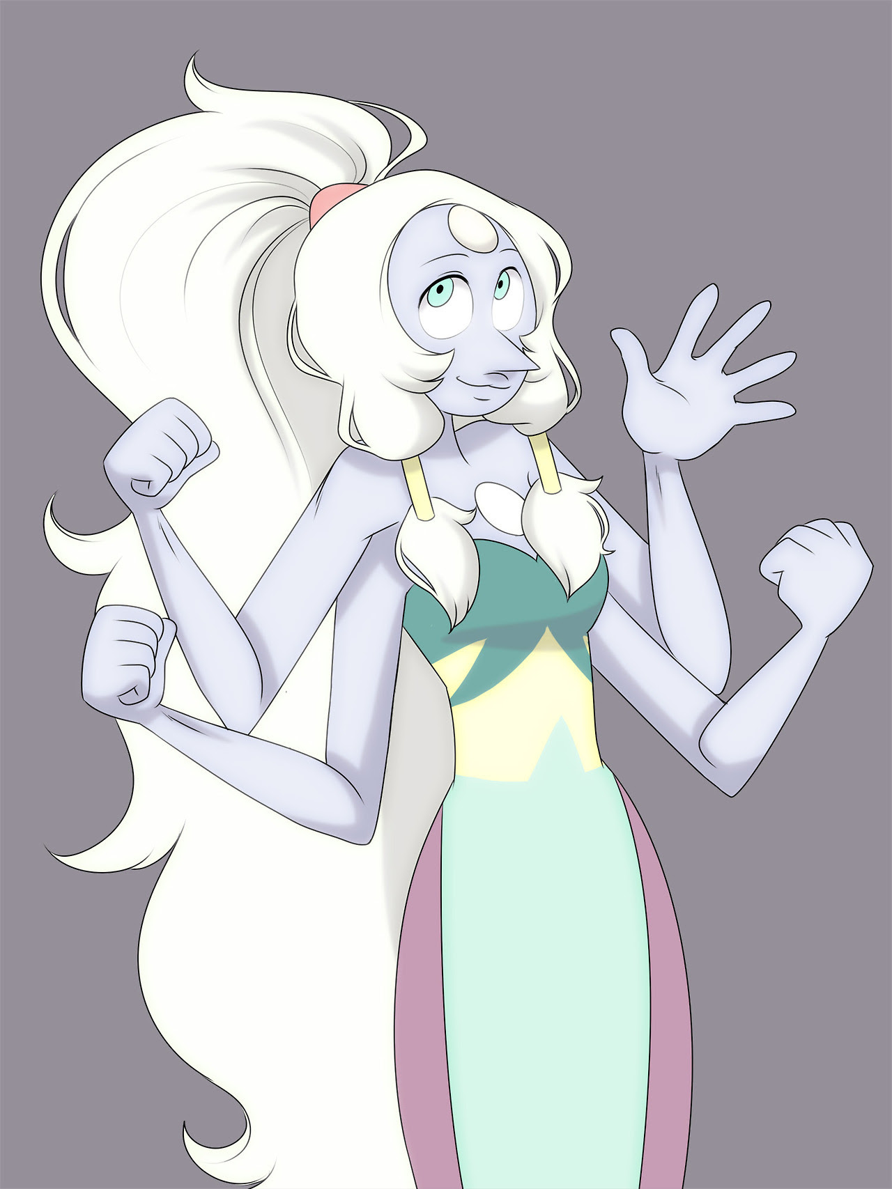 Honestly my favorite thing about Opal (aside from the fact that she's got no business being as attractive as she is) is that she's kind of a dumb fusion. That really resonates with me, being dumb, myself. I swear one day I'll draw her in a decent picture.
