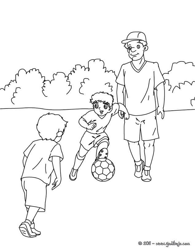 Dibujos Para Colorear Padre Jugando Futbol Con Sus Hijos Es