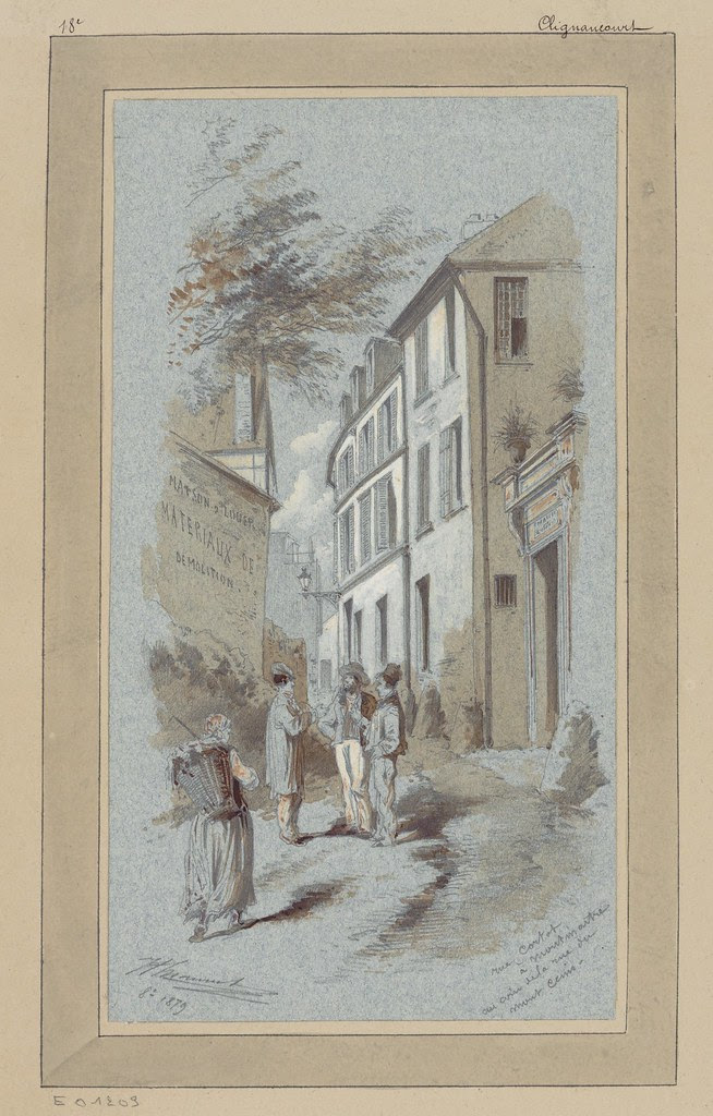 watercolour & pen sketch of street corner near Montmartre - 1800s Paris (18th arrondissement: Right Bank)
