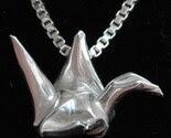 Fine Silver Metalgami (Origami) Peace Crane (Tsuru) Pendant on a Sterling Silver Necklace