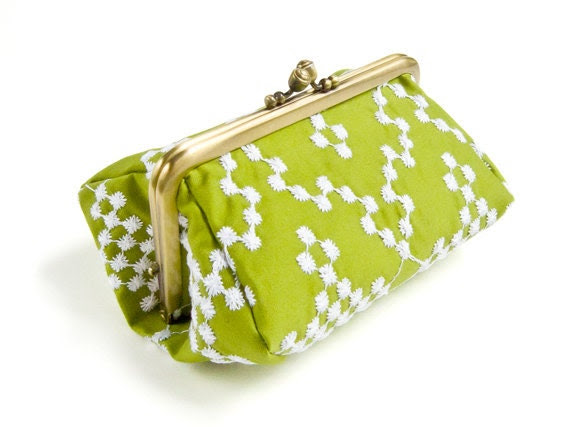 Embroidered Snowflakes Bright Green Capacious Pouch - humoresque