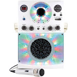 The Singing Machine Bluetooth Karaoke System with LED Disco Lights and Microphone - White