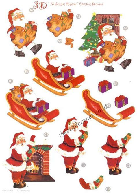 Santa & Sleigh Die Cut 3d Decoupage Sheet