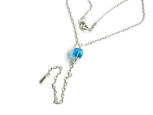 Silver lariat necklace Long lariat Silver blue necklace Long Y