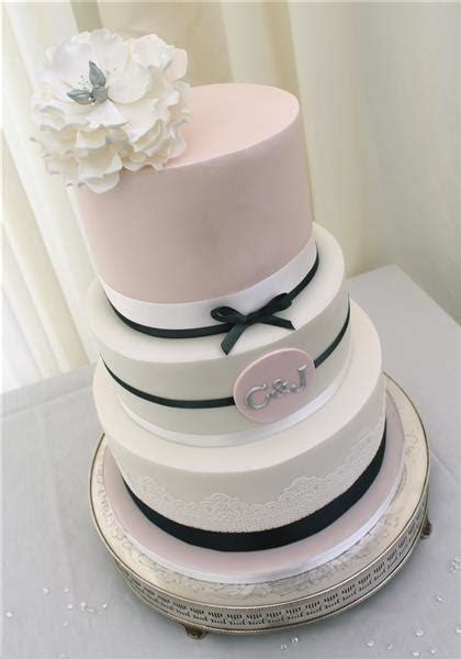 Navy and Blush Pink Peony Cake