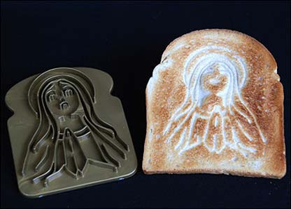 Mould used to make bread into toast featuring Virgin Mary