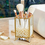 PuTwo Makeup Brush Holder, Glass and Brass Vintage Makeup Brush Organizer, Handmade Cosmetic Brush Storage with White Pearls for Vanity, Countertop