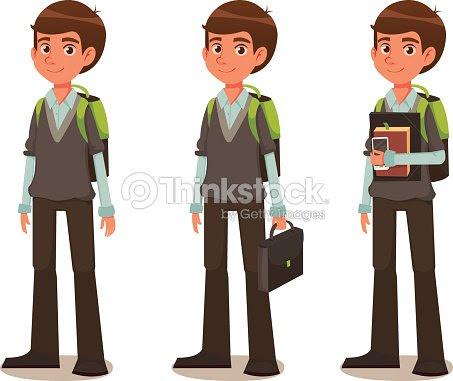 Niño En Edad Escolar En Uniforme Escolarilustración Dibujo Animado
