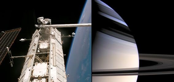 LEFT IMAGE: Astronauts working outside the International Space Station (July 8, 2006)... RIGHT IMAGE: Saturn in an image taken by the Cassini spacecraft (December 22, 2005)