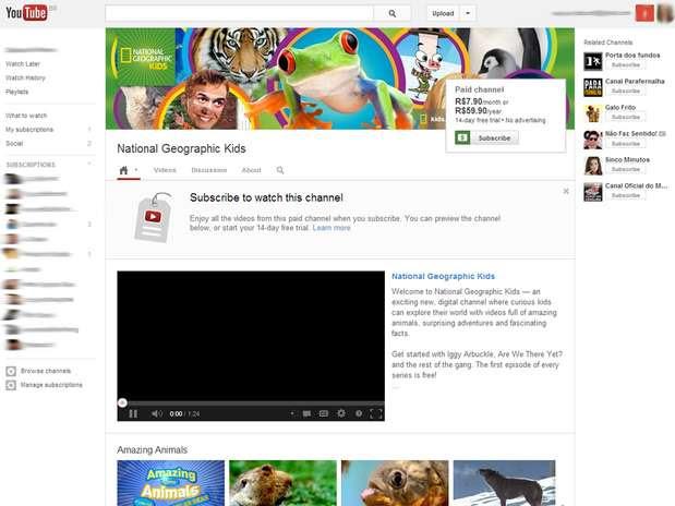 National Geographic Kids é um dos canais que estreiam serviço de assinatura paga do YouTube Foto: Reprodução