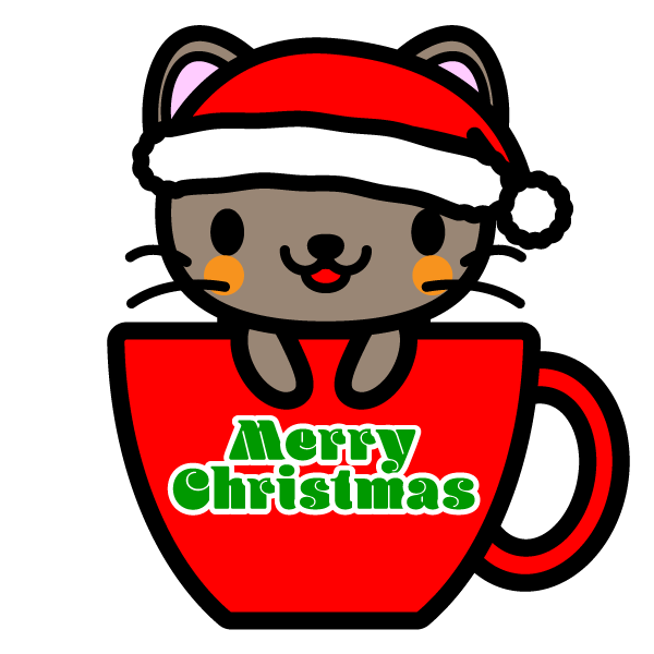 かわいいコーヒーカップ猫クリスマスverの無料イラスト商用フリー