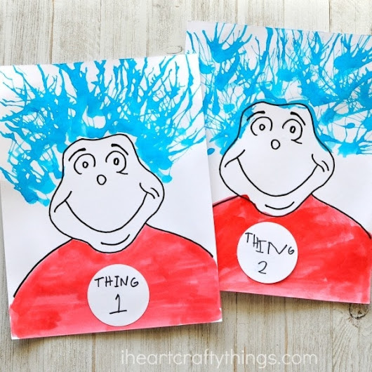Thing 1 and 2 Blow Painting Dr. Seuss Craft | I Heart Crafty Things