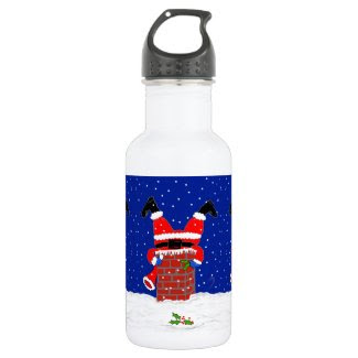 Santa in the Chimney on Water Bottle