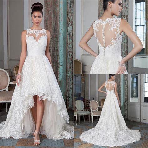 Plus Size Lace A Line Wedding Dresses 2016 High Low Court