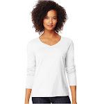 Hanes Women's Long Sleeve V-Neck T-Shirt, White