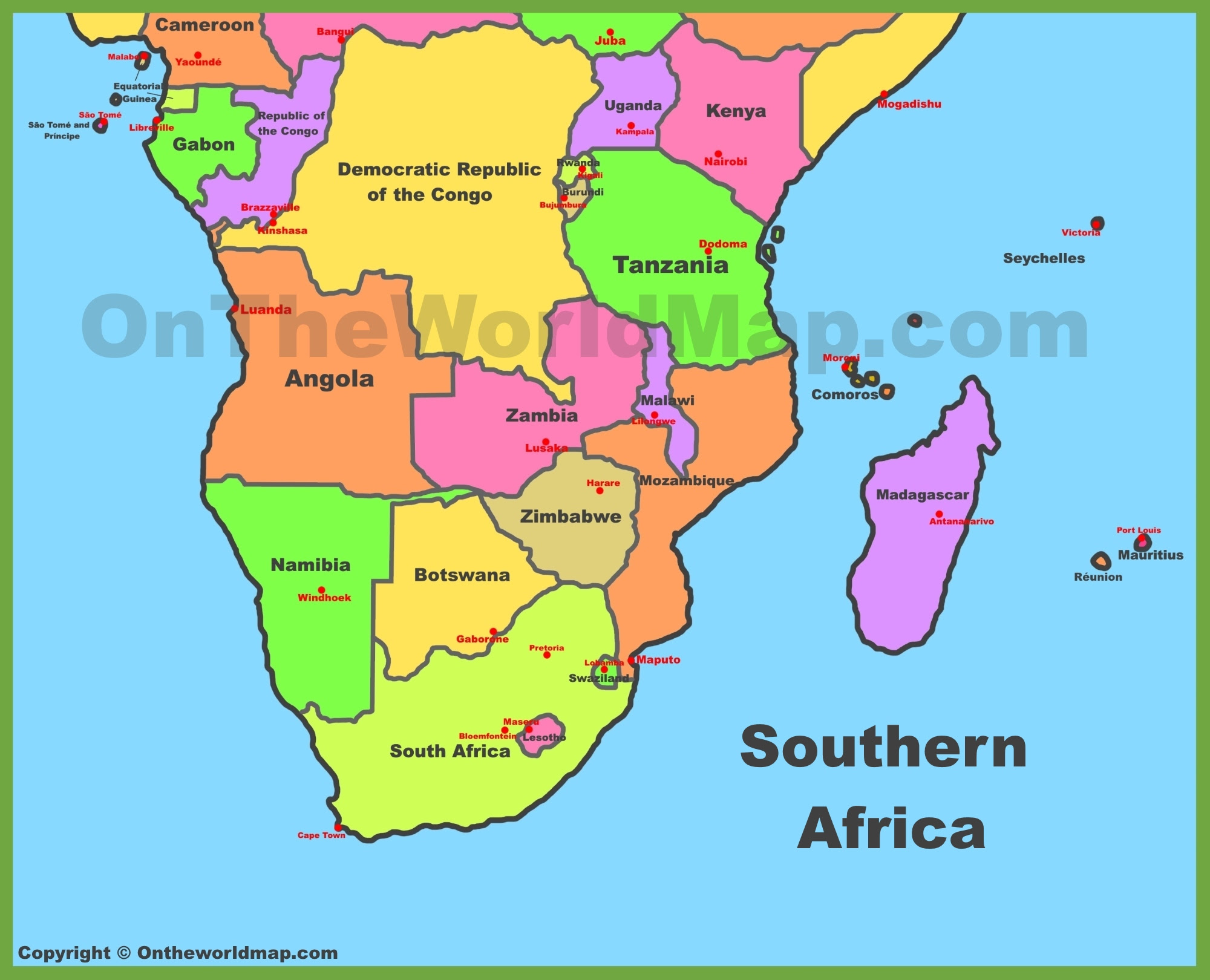Map Of South Africa Countries   Map Of Africa