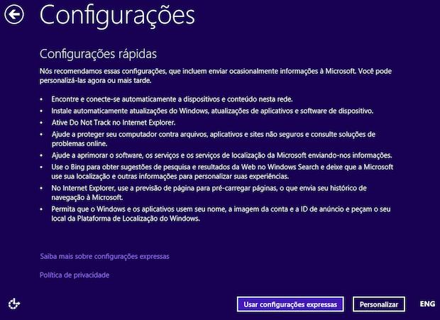 Configurando o Windows 8.1 (Foto: Reprodução/Helito Bijora)