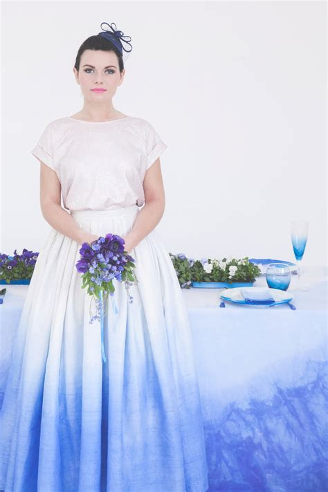 Blue Ombre Wedding Inspiration & Dip Dye Wedding Dress