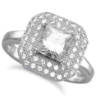 AzureBella Jewelry Octagon Shape Pave Cubic Zirconia Ring with Square CZ Center Rhodium on Sterling Silver