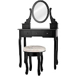 Costway Mirrored Vanity Table Set w/ Cushioned Stool & 5 Drawers