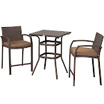 Outsunny 3 Piece Outdoor PE Rattan Wicker Patio Conversation Table Set with 2 Chairs & 1 Center Coffee Table Brown