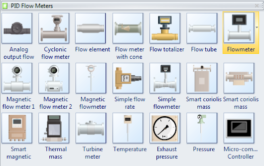 Pre Drawn Flow Meter Symbols Represent Analog Output Flow Sensor