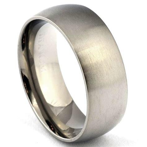 titanium ring classic dome mens wedding band satin