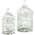 Metal Bird Cage Set of 2 Shabby Chic White