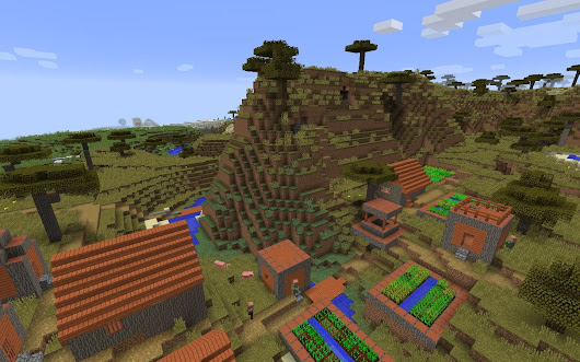 Acacia Village Spawn and Desert Temple - Minecraft Seed HQ