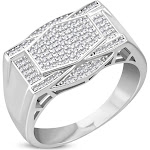 My Daily Styles 925 Sterling Silver Men's Silver-Tone Micro Pave White CZ Stone Signet Style Ring