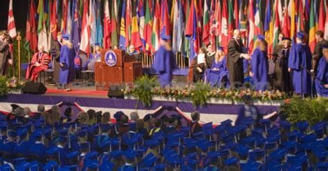 Graduation Ceremony International Flags Decorate The Stage
