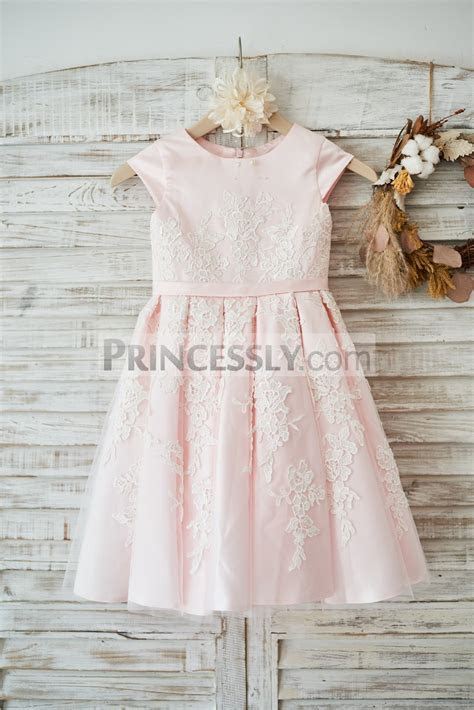 Pink Satin Ivory Tulle Lace Cap Sleeves Wedding Flower