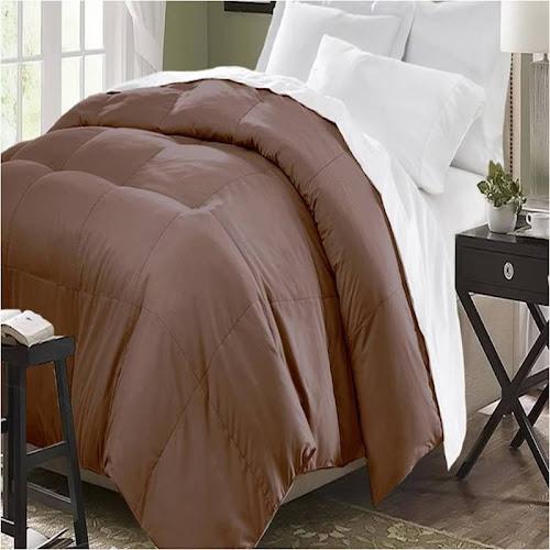 Blue Ridge Home Fashions Microfiber Down-Alternative Comforter, Chocolate, Full/Queen