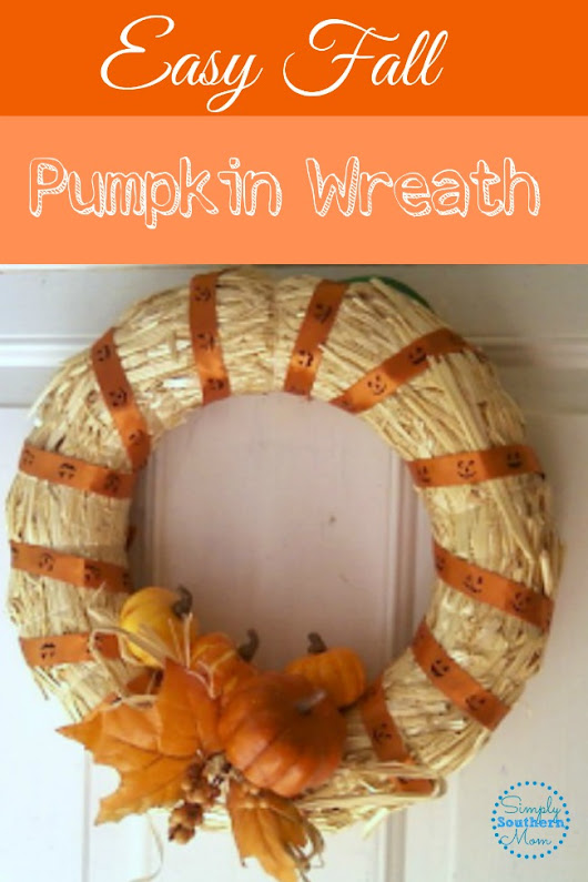Thrifty Fall Decor-Pumpkin Wreath with #Midori Ribbon