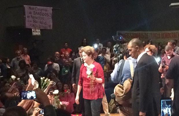 A presidente afastada Dilma Rousseff em ato contra o impeachment em Brasília (Foto: Filipe Matoso / G1)