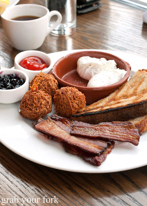 poached eggs house smoked bacon tater tots toast breakfast Nightwood Chicago Illinois