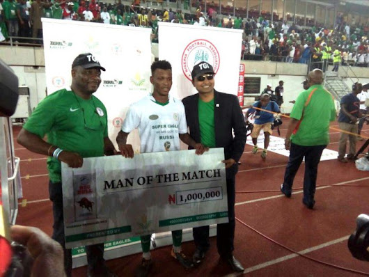 Shehu Abdullahi Named Man Of The Match In Nigeria's Win Over Zambia, Takes 1 Million Naira And 10 bags of Rice Home (Pictured)