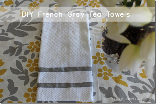 French Gray Ribbon Trimmed Kitchen Towels - Setting for Four